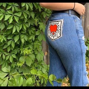 Keith Harring Inspired Hollister Jeans (Size 9)